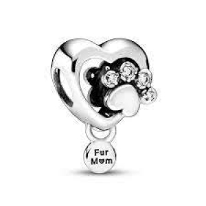 Paw heart sterling silver charm with clear cubic zirconia