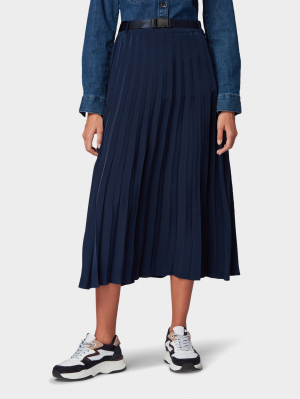 plisseé midi skirt, Real Navy Blue, M