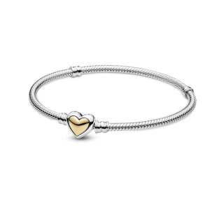Snake chain sterling silver bracelet with heart clasp and 14k gold