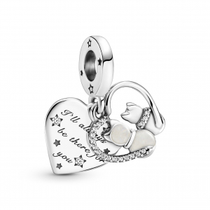 Cats and heart sterling silver dangle with clear cubic zirconia and shimmering silver enamel