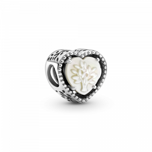 Family tree heart sterling silver charm with white mother of pearl