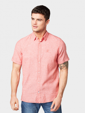 ray linen cotton, flashy red chambray, L