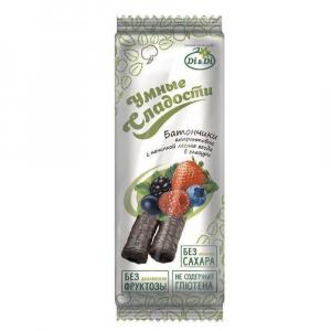 Батончики безглютеновые «Умные сладости» с начинкой лесная ягода, витаминизированные 20г