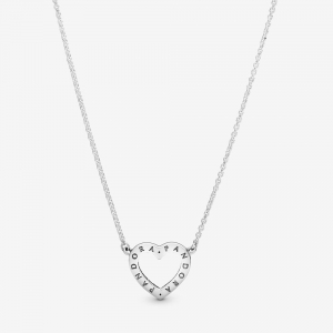 Heart silver necklace with clear cubic zirconia