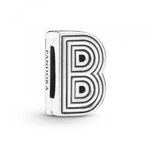Pandora Reflexions letter B silver clip charm