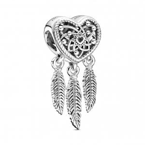 Dreamcatcher sterling silver heart charm
