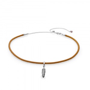 Feather pendant and choker with golden tan leather and pink cubic zirconia
