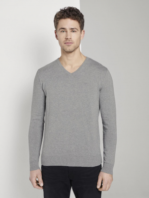 basic v neck swea, Knit Grey Melange, XL