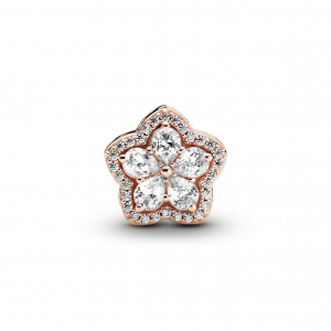 Snowflake Pandora Rose charm with clear cubic zirconia