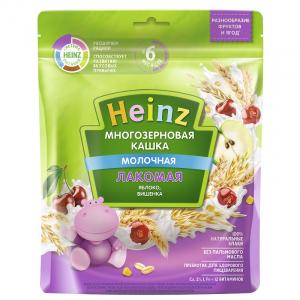 Каша Heinz Лакомая молочная многозерновая с яблоком и вишней 170 гр
