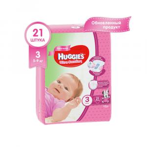 Подгузники для девочек Huggies Ultra Comfort 3 (5-9 кг) 21 шт