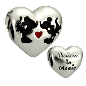 Disney Minnie & Mickey heart silver charm with black and red enamel