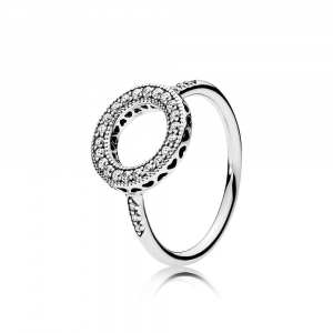 Silver ring with clear cubic zirconia