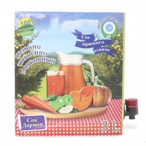Сок яблочно-морковно-тыквенный пастеризованный 3л (Bag-in-Box), в картонной коробке