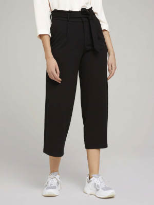 Knitted paperbag culotte, Deep Black, XL