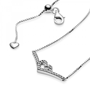 Heart and wishbone sterling silver collier with clear cubic zirconia