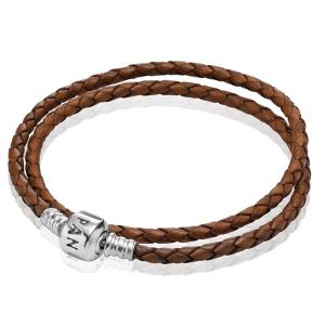 Silver leather bracelet, double