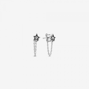 Star sterling silver stud earrings with clear cubic zirconia