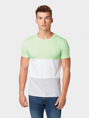 T-shi, neon green summer waves print, XL