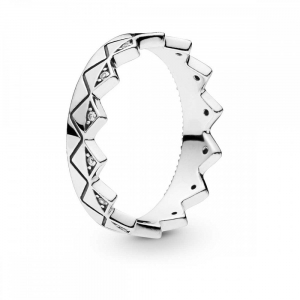 Crown silver ring with clear cubic zirconia