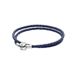Silver leather bracelet, double dark blue
