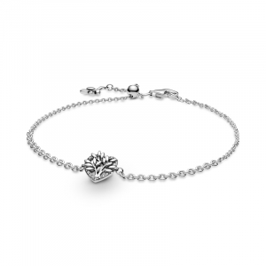 Family tree sterling silver bracelet with clear cubic zirconia