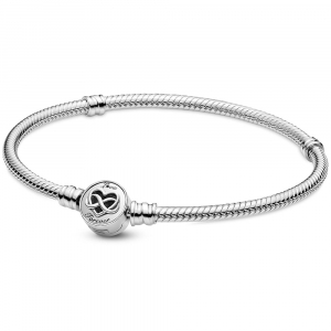 Snake chain sterling silver bracelet and infinity heart clasp