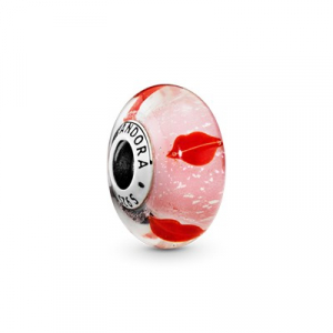 Lips silver charm with iridescent, red, pink and transparent Murano glass