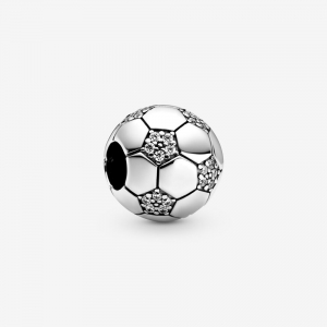 Football sterling silver charm with clear cubic zirconia