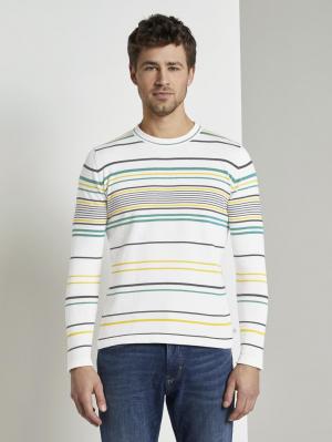 striped swe, white yellow fine stripe, L