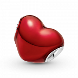 Heart sterling silver charm with red enamel