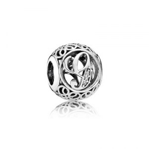 Letter G silver charm with clear cubic zirconia