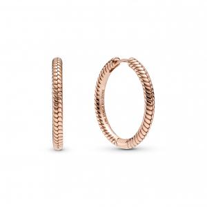 Snake chain pattern Pandora Rose hoop earrings