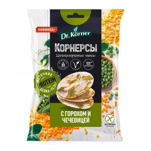 Чипсы Korner с горошком и чечевичей кукурузно-рисовые 50гр БГ