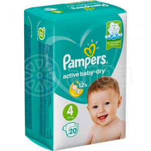 PAMPERS AVTIVE BABY-DRY #4 9-14 КГ 20 ШТ