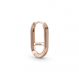 14k Rose gold-plated hoop connector earring