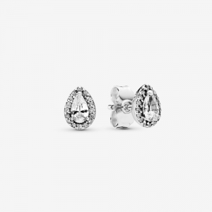 Silver stud earrings with clear cubic zirconia