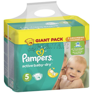 PAMPERS AVTIVE BABY-DRY #5 11-16 КГ 78 ШТ