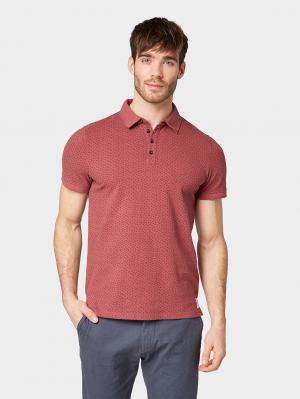 polo w tonal a, red small leaf design, M