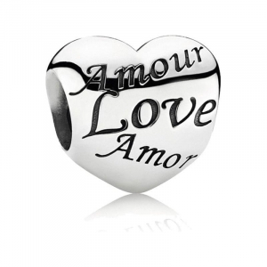Heart silver charm with LOVE  in dif. languages
