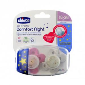 Пустышка силиконовая Chicco Physio Comfort 16-36 м для девочек 2 шт