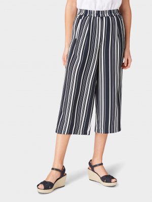 easy culotte, navy vertical striped, 36