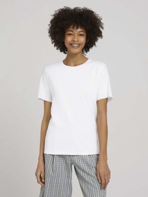 T-shirt modern basic, White, M