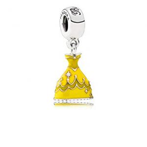 Disney Belle dress silver dangle with yellow enamel