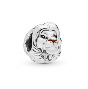 Disney Simba silver charm with black and brown enamel
