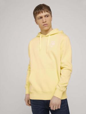 Hoody w. chest print, cream yellow, XL