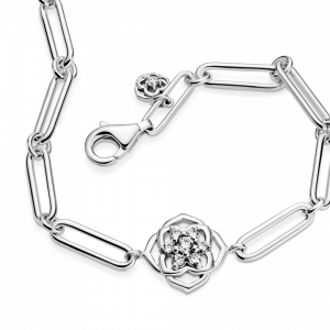 Rose flower sterling silver bracelet with clear cubic zirconia