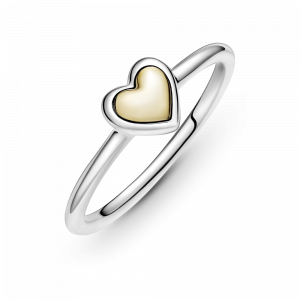 Heart sterling silver and 14k gold ring