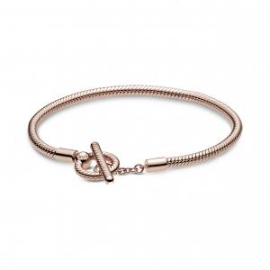 Snake chain Pandora Rose T-bar bracelet