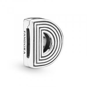 Pandora Reflexions letter D silver clip charm